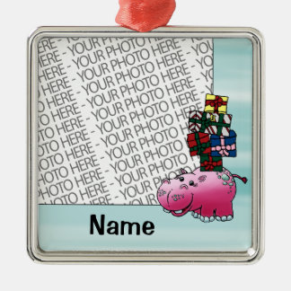 Ornament, Photo & Name Template Cute Hippo & Gifts Christmas Ornament
