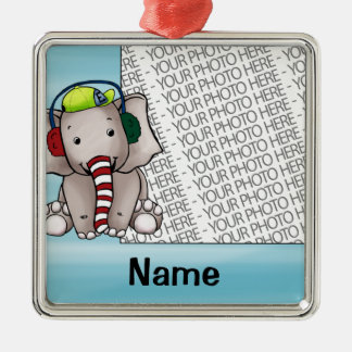 Ornament, Photo & Name Template Elephant Candycane Christmas Ornament