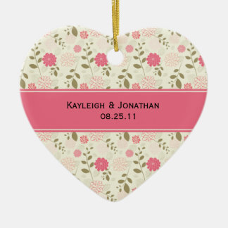 Ornament Pink and Cream Floral Wedding Keepsake