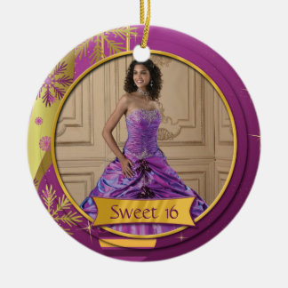 Ornament Purple Gold Sweet 16