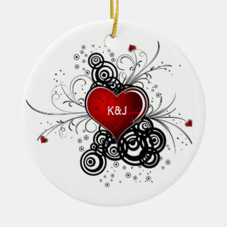 Ornament Red Heart Black Swirls Wedding Keepsak