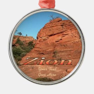 Ornament: Red Rock In Zion (Premium Round) Silver-Colored Round Decoration
