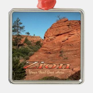 Ornament: Red Rock In Zion (Premium Square) Silver-Colored Square Decoration