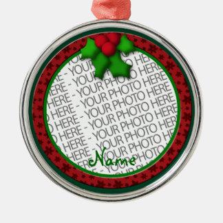 Ornament, Round Premium, Template, Add your pic! Silver-Colored Round Decoration
