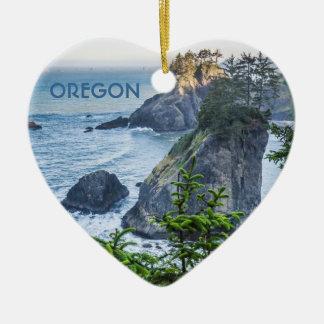 Ornament: Sea Stacks And Iris (Heart) Christmas Ornament