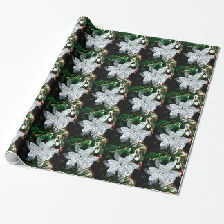 Ornament - Silver Poinsettia Decoration Wrapping Paper