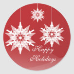Ornament Snowflakes Large Red Holiday Stickers