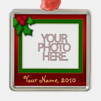 Ornament, Square Premium, Template, Add your pic! Christmas Ornament