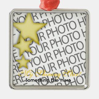 Ornament, Square Premium, Template, Add your pic! Silver-Colored Square Decoration
