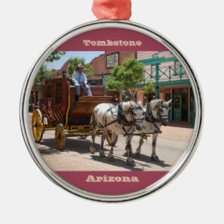 Ornament: Stagecoach Ride #3 (Premium Round Red) Silver-Colored Round Decoration