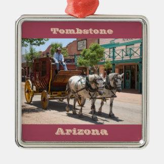 Ornament: Stagecoach Ride #3 (Premium Square Red) Silver-Colored Square Decoration