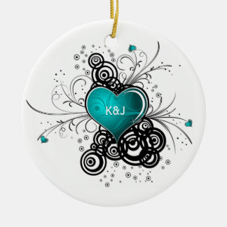 Ornament Teal Heart Black Swirls Wedding Keepsak