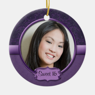 Ornament Two-Tone Purple Brocade Floral Sweet 16