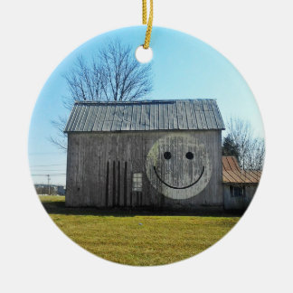 Ornament Vintage Americana Smiley Face Barn