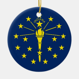 Ornament with flag of Indiana