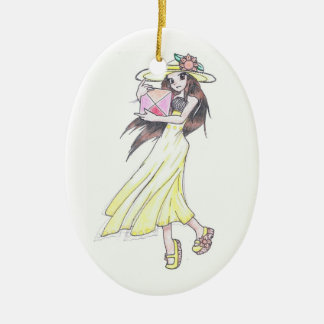 Ornament with girl in yellow dress