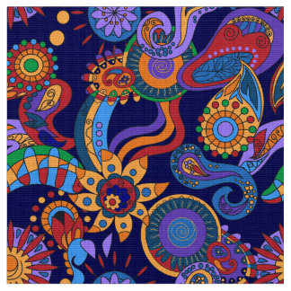 Ornamental abstract floral elements hippie style fabric