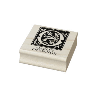 Ornamental Alphabet Letter O Personalized Rubber Stamp