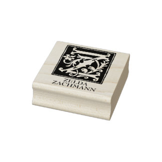 Ornamental Alphabet Letter Z Personalized Rubber Stamp