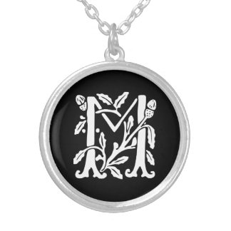 Ornamental Alphabet Monogram Letter M Silver Plated Necklace