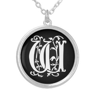 Ornamental Alphabet Monogram Letter W Silver Plated Necklace