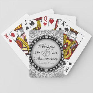 Ornamental Anniversary Custom Monogram Playing Cards