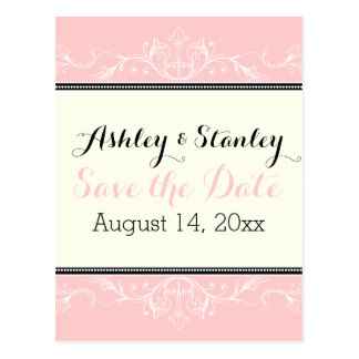 Ornamental border pink and ivory Save the Date Postcard