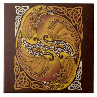Ornamental Celtic Dragons Tile