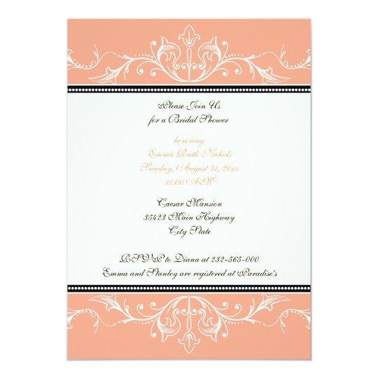 Ornamental coral white bridal shower invitation