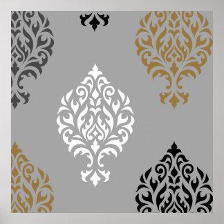 Ornamental Damask Art I Black White Greys Gold Poster