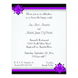 Ornamental Damask Purple Wedding Shower Invitation
