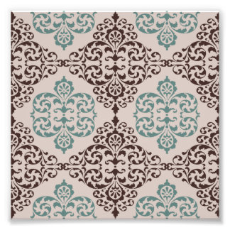 Ornamental Damask Style Pattern in Blue and Brown Art Photo