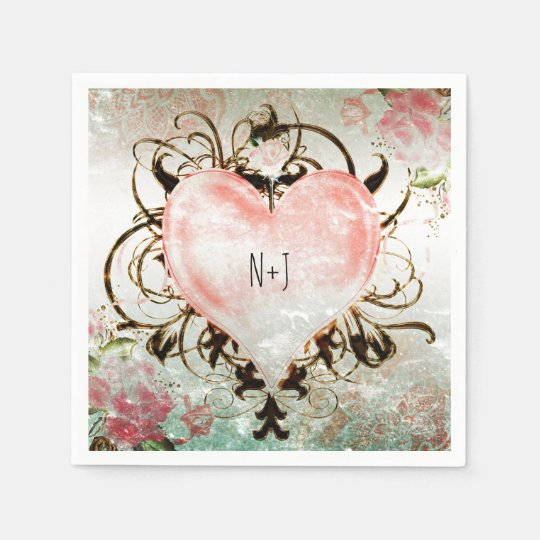 Ornamental Elegant Floral Vintage Heart Party Disposable Napkin