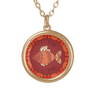 Ornamental fish on ethnic traditional flourish gold plated necklace