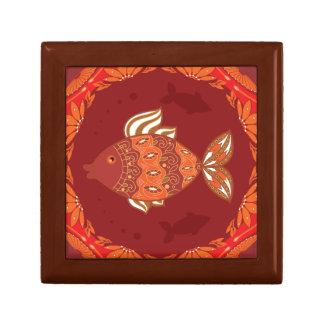 Ornamental fish on ethnic traditional flourish small square gift box