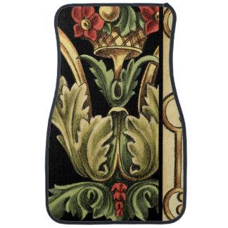 Ornamental Floral Design with Black Borders Car Mat