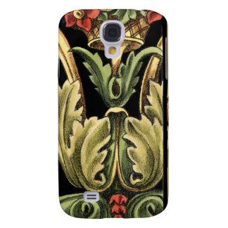Ornamental Floral Design with Black Borders Galaxy S4 Case