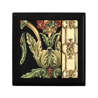 Ornamental Floral Design with Black Borders Gift Box