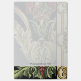 Ornamental Floral Design with Black Borders Post-it Notes