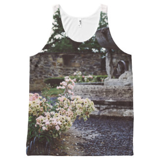 Ornamental Garden, Roses and a Fountain All-Over Print Tank Top