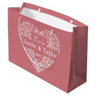 Ornamental Heart custom text large gift bag