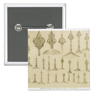 Ornamental knobs shaped as domes and minarets, fro 15 cm square badge