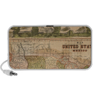 Ornamental Map of The United States and Mexico iPhone Speakers
