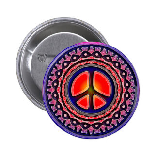 ORNAMENTAL PEACE SIGN 6 CM ROUND BADGE