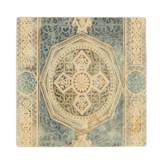 Ornamental Tapestry with Ornate Geometric Design Maple Wood Coaster