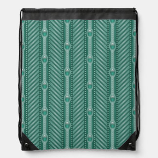 Ornamental Teal Pattern Drawstring Bag