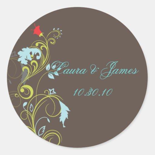 Ornamental vine/aqua blue /chocol wedding stickers
