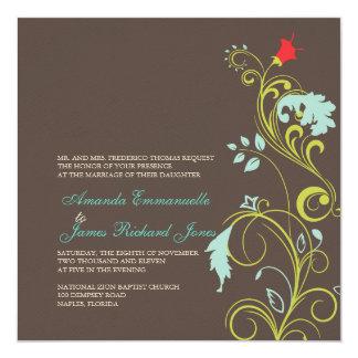 Ornamental vine/aqua blue /chocolate card