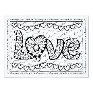 OrnaMENTALs Love and Hearts Color Your Own 14 Cm X 19 Cm Invitation Card