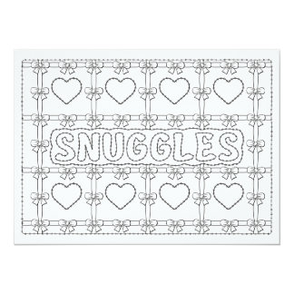 OrnaMENTALs Snuggles Hearts Bows Color Your Own 14 Cm X 19 Cm Invitation Card